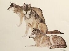 "Western Art / Wildlife-Wolves ""Trilogy""  color print by artist Larry Bees"