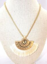 NWT WHBM White House Black Market Gold Cream FringeFan Amber Rhinestone Necklace
