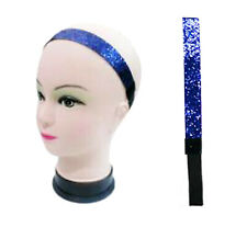 ELECTRIC BLUE GLITTER HEADBAND Elastic Sequin Hairband Fancy Dress Party Gift