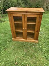 Pine Larder Cabinet Cupboard Display Bookcase Glazed Doors Shelving