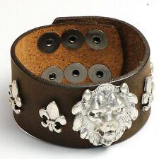 Lyon Head Vintage BROWN Wrist Cuff - Made in USA - PREMIUM AMERICAN LEATHER