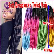 "20"" Soft Dreadlocks Twist Braids Crochet Synthetic Hair Extensions Ombre 100g"
