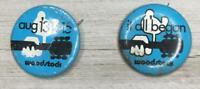 2 Vintage Authentic Original Woodtock Movie  Pinback Metal Buttons