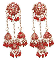 Indian Red Pearl Multi Silver Jhumka Earrings Jhumki New Bridal Jewelry Set