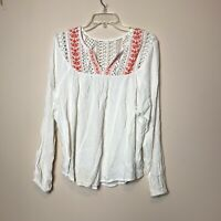 Mossimo Womens Peasant Top, Embroidered Neck, Flowy, Size Medium
