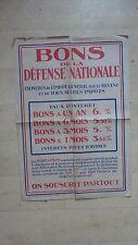 AFFICHE WW2 BONS DE LA DEFENSE NATIONALE