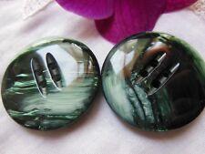 duo grands boutons Ancien vintage vert effet nacré épais 3,5 cm ref 1764
