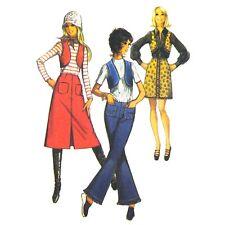 Vtg 70s Simplicity 9173 Junior Teen Midi Mini Skirt Hip Hugger Pants Vest 7/8