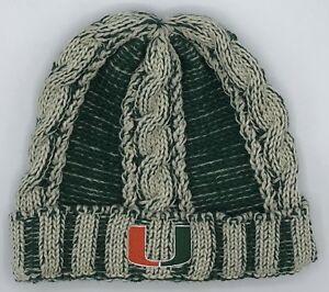 NCAA Miami Hurricanes Adidas Womens Cuffed Winter Knit Hat Cap Style #KU69W