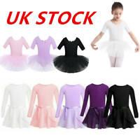 UK Girls Ballet Dance Dress Toddler Gymnastics Half Sleeves Leotards Tutu Skirts