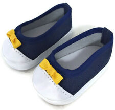 """Navy Slip On Canvas Tennis Shoes w/Bow made for 18"""" American Girl Doll Clothes"""