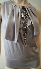 VALENTINO Made In Italy Pale Grey Wool Silk Cashmere Beaded Sleeveless Top S