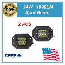 2X 24W Square CREE LED Cube Pods Work Light Flush Mount Offroad Truck Bumper UTV