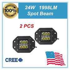 2X 24W Square CREE LED Cube Pods Work Light Flush Mount Offroad Truck Bumper UTV