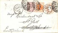 "GB 1897 QV THREE-COLORS-POSTAGE duplex postmark ""LONDON.W. W 16"" EARLIEST DATE!!"