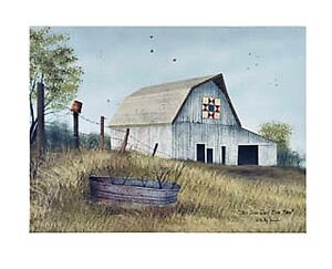 New Primitive Farmhouse Billy Jacobs OHIO STAR QUILT BARN PICTURE Wall Hanging