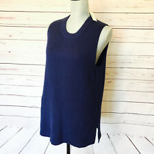 J.Crew Navy Blue Sleeveless Tunic Sweater Style F4132 Fall 16 sz Medium M NWT
