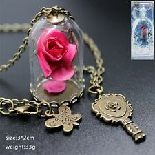NEW Beauty and the Beast Necklace Rose in Terrarium Pendant girls birthday gift
