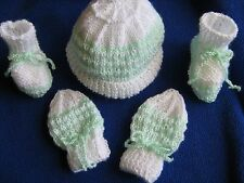Hand Knitted Baby Hat,Booties and Mittens baby shower  set ......Newborn 4ply.