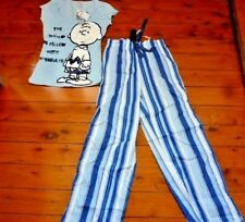 094279ea0a Style  Pajama SetsFeatures  Buttons. Ladies Snoopy Peanuts Shirt Long Pants  Stripted PJs Size 8