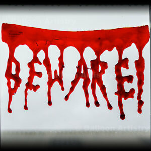 Halloween Bloody Horror Blood BEWARE Window Gel Clings Party Decorations