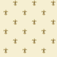 Golden Fleur de Lis Dotted on Cream Background Wallpaper PR9055