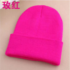 Men's Women Beanie Knit Ski Cap Hip-Hop Blank Color Winter Warm Unisex Hat rose
