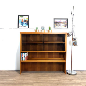 McIntosh Vintage Mid Century Teak & Glazed Glass Slim Sideboard Bookcase