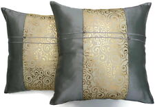 Set of Two Metallic Silver Silk Throw Cushion Pillow Covers Case Gold Filigree