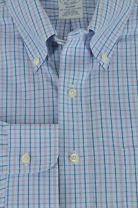 Brooks Brothers Rege Men's Blue & Purple Tattersall Cotton Dress Shirt 16 x 33