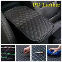 PU Leather Black Plaid Car Center Box Armrest Console Pad Cushion Cover For Rest