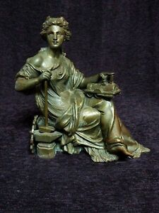 Mantle Clock Topper Woman with Train and Anvil, Hammer and gear Figure Statue