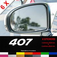 10 Stickers 407 Peugeot Autocollants Rétroviseur Adhésifs Voiture Auto Retro