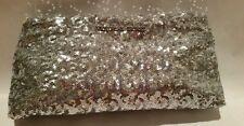 Victoria's Secret silver sequin clutch/mini hand bag purse makeup bag NWT