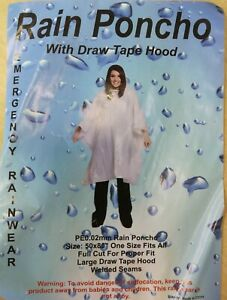 2 x Clear Adult Emergency Waterproof Rain Poncho - Hooded with drawstring - New