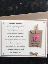 Personalised Thank You Key-Worker Poem Gift Magnet. Forget-me-not Seeds