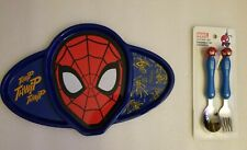 NWT Marvel Comics Spider-Man Kids Plastic Sectioned Plate & Cutlery Set