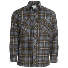 Mens Padded Quilted Lined Thick Lumberjack Check Button Warm Shirt Jacket M-6XL