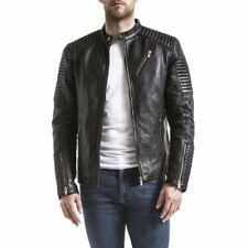 Blouson motard Cuir Wellford atur biker stylé blouson noir 100 % cuir de mouton