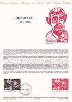 Document philatélique 29-85 1er jour 1985 Jean Dubuffet Peintre