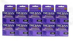 30 HER PLEASURE Sensations Trojan Ribbed Condoms Latex Lube Lubricated Reservoir