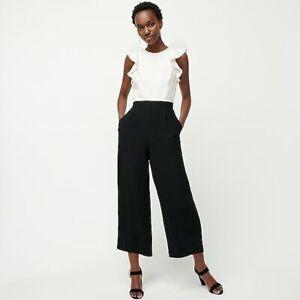 NWT JCrew $148 Colorblocked Sleeveless Ruffle Jumpsuit Size 4 Ivory Black AF419