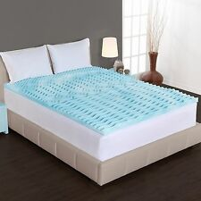 "Memory Foam Mattress Topper Queen Size Gel Pad 2"" Inch Cover Firm Bed Orthopedic"
