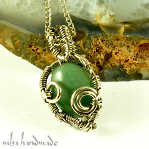 Jade Crystal Pendant German Silver Wire Wrapped Authentic Gemstone Jewelry