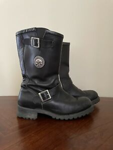 Harley Davidson Leather Boots Skull Men's Size 11 Black