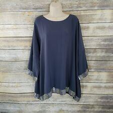 Eskandar Size 1 Womens Tunic Top Gray Silver Beaded Sequin Trim 3/4 Slv Silk
