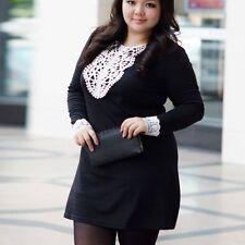 Plus Size Long sleeveLace Colar applique MINI DRESS Party Club Wear Tunic top