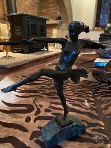 Bronze Figure Statue Female Warrior Art Deco Style Sculpture Figurine on Marble