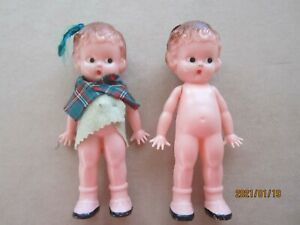 "2 Vintage Plastic Knickerbocker Plastic Celluloid 6"" Doll Side Eyes  Kewpie"