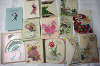 VINTAGE LOT OF 13 Assorted HOLIDAY GREETING Cards UNUSED FROM 50s & 60s GIBSON